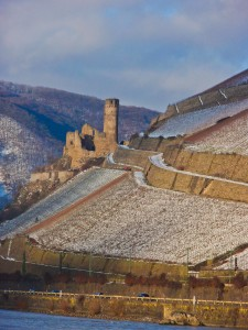 Castles that ring the Rhine Valley Gorge lie blanketed in snow, creating a fantastical Christmas panorama. (c) GTH & Nathan DePetris